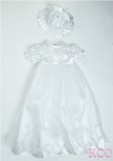 Panel Christening Gown White